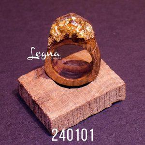 انگشتر طلایی چوب و رزین لگنا