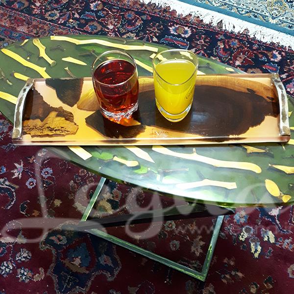 کاربرد رزین اپوکسی در میز علی و سینی چوب و رزین لگنا